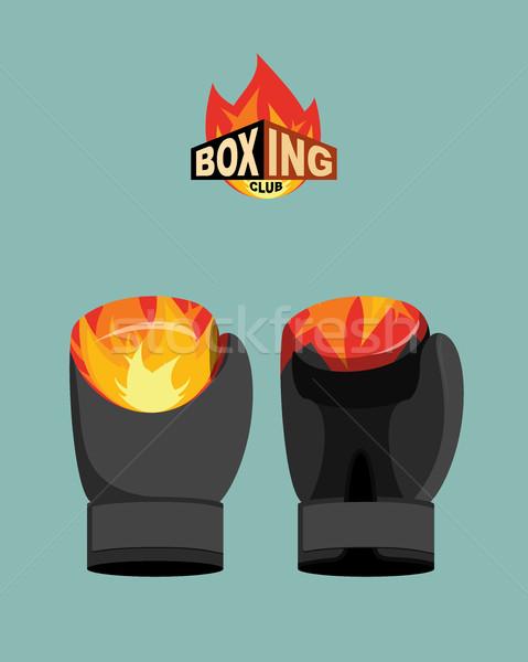 Bokshandschoenen brand sport kunst strijd versnelling Stockfoto © popaukropa