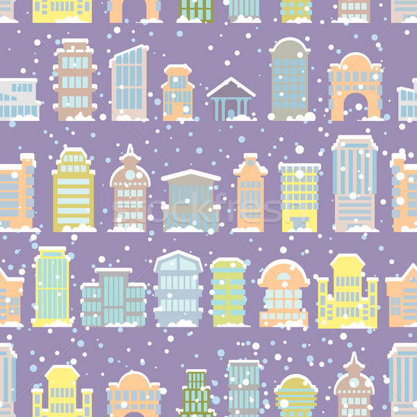 Tél város végtelen minta hóesés felhőkarcolók helyhatósági Stock fotó © popaukropa
