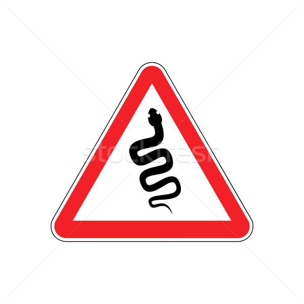 Snake Warning sign red. Venomous serpent Hazard attention symbol Stock photo © popaukropa