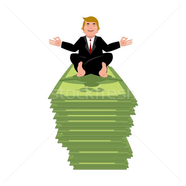 Business yoga and money. Businessman meditating on cash. Yogi Bo Stock photo © popaukropa