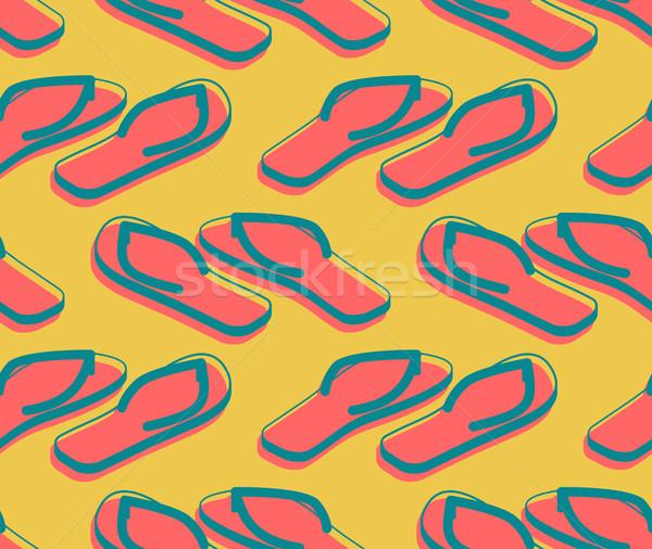 Házi cipők végtelen minta nyari cipő dísz tengerpart csizma Stock fotó © popaukropa