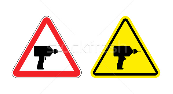 Warning sign attention drill. Hazard yellow sign noisy construct Stock photo © popaukropa