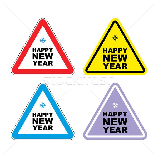 внимание с Новым годом знак предупреждение праздник цвета Сток-фото © popaukropa