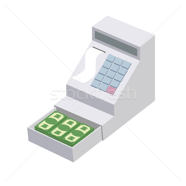 Cashier. Open a cash register with a lot of dollars. Seller box  Stock photo © popaukropa