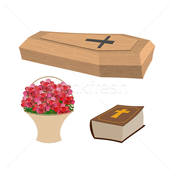 Set funeral. Coffin and Bible. Basket of flowers for burial of d Stock photo © popaukropa