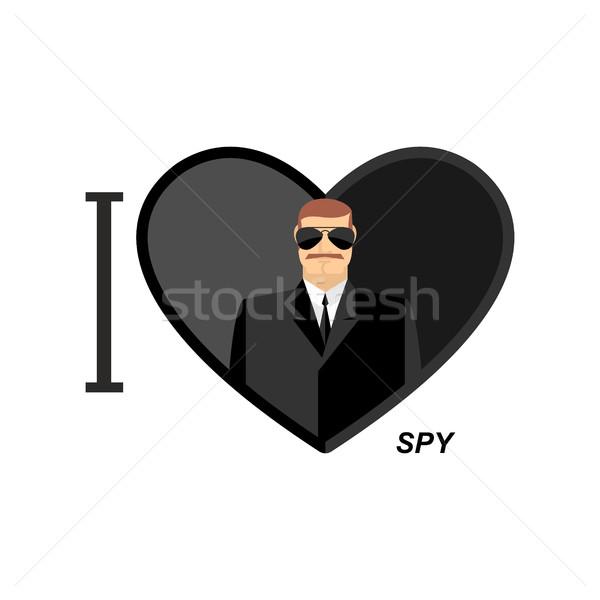 любви шпиона человека черный очки символ Сток-фото © popaukropa