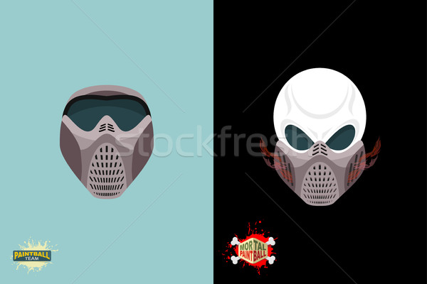 paintball helmet and mask. scary skull with smoke. Mortal paintb Stock photo © popaukropa