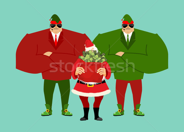 Santa and bag of money. Elf Claus bodyguards. Christmas gift cas Stock photo © popaukropa