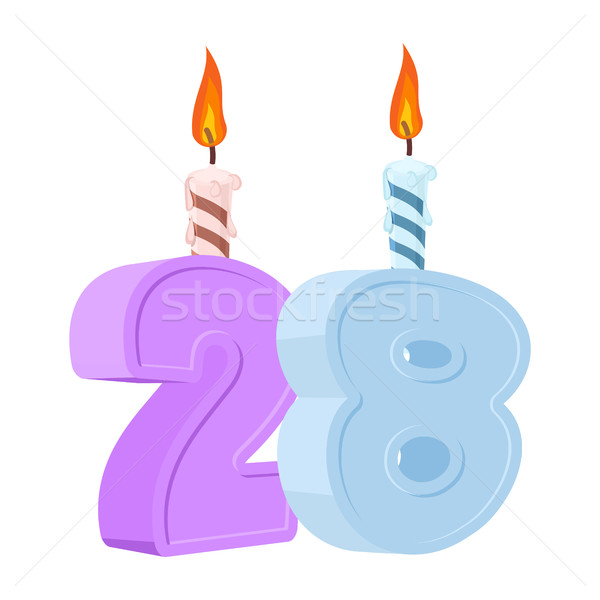 28 years birthday. Number with festive candle for holiday cake.  Stock photo © popaukropa