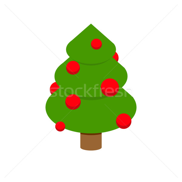Christmas tree isometry. Decorated fir geometry for holiday. Fes Stock photo © popaukropa