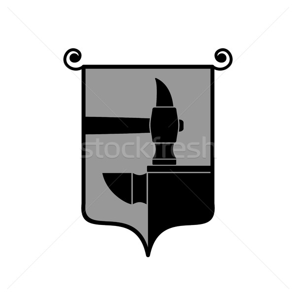 Forge logo. smithy symbol. Hammer and anvil emblem. Vintage sign Stock photo © popaukropa