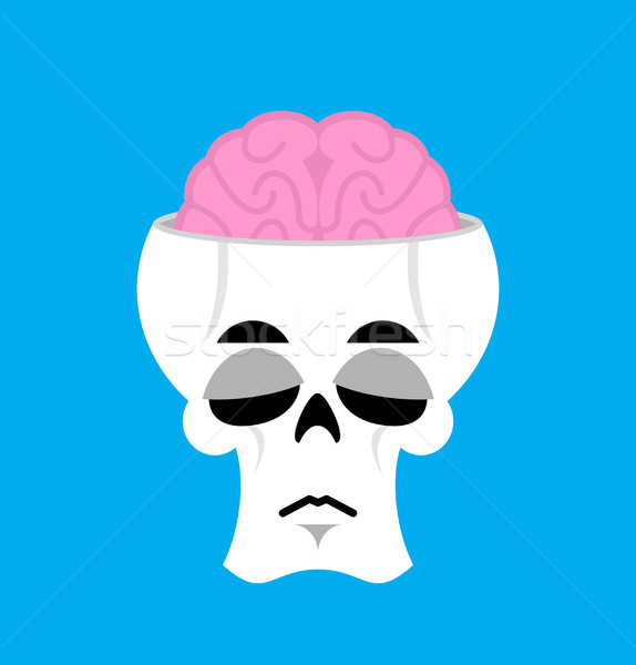 Skull and brain Sad Emoji. skeleton head  sorrowful emotion isol Stock photo © popaukropa