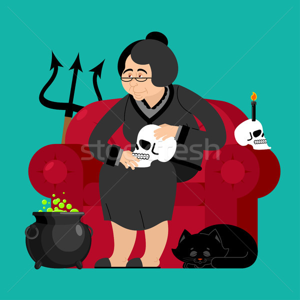 Witch in chair. Skull and black cat. Sorceress and Magic Pot Pot Stock photo © popaukropa