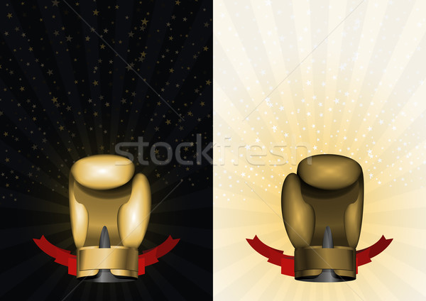 boxing gloves. Set template for Championship Awards. boxing gold Stock photo © popaukropa