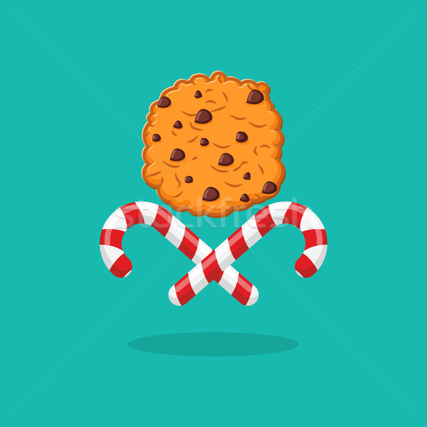Peppermint Christmas candy and cookies emblem for New year. Swee Stock photo © popaukropa