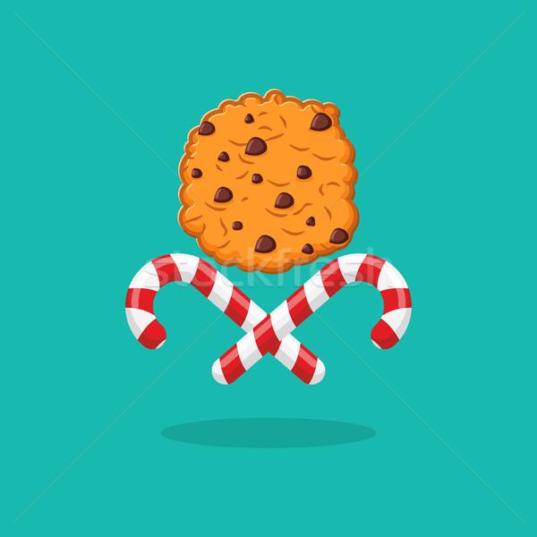 Borsmenta karácsony cukorka sütik embléma új év Stock fotó © popaukropa