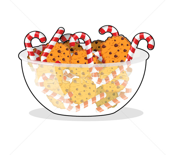 Borsmenta karácsony cukorka sütik üveg tál Stock fotó © popaukropa