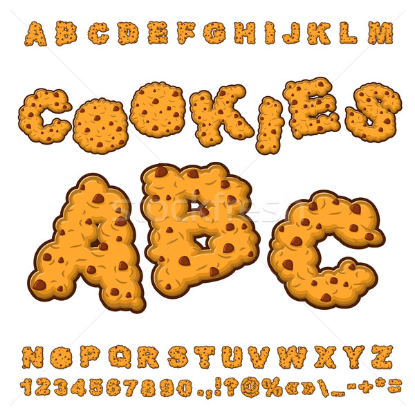 Cookies font. Food lettering. Edible typography. Baking ABC. Cra Stock photo © popaukropa