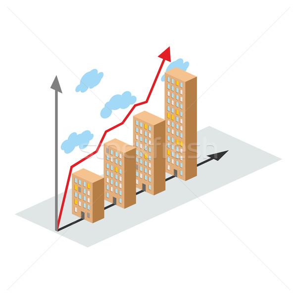 Grafika építkezés növekedés épületek város cég Stock fotó © popaukropa