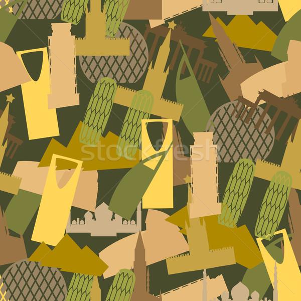 Militaire camouflage mijlpaal gebouwen leger kleding Stockfoto © popaukropa