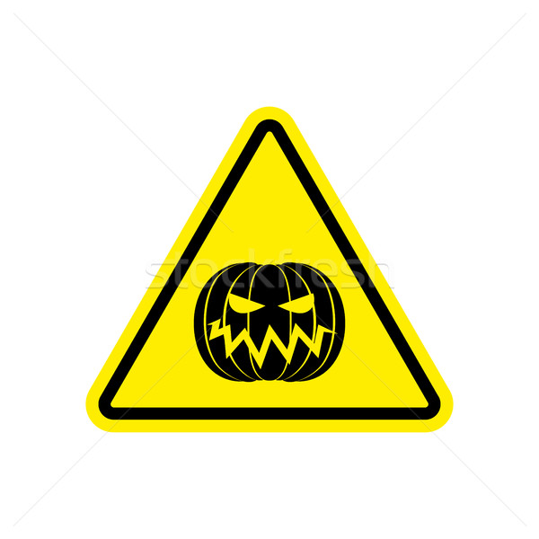 Halloween Warning sign yellow. Masquerade Hazard attention symbo Stock photo © popaukropa