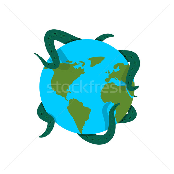 Earth in tentacles of monster. Cthulhu conquest of planet. Giant Stock photo © popaukropa