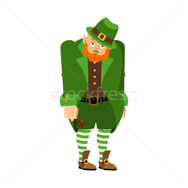 Leprechaun Sad. Dwarf with red beard sorrowful Emoji. Irish elf  Stock photo © popaukropa