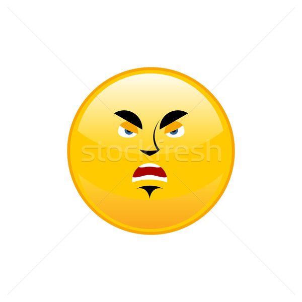 Angry Emoji isolated. Aggressive yellow circle emotion isolated Stock photo © popaukropa