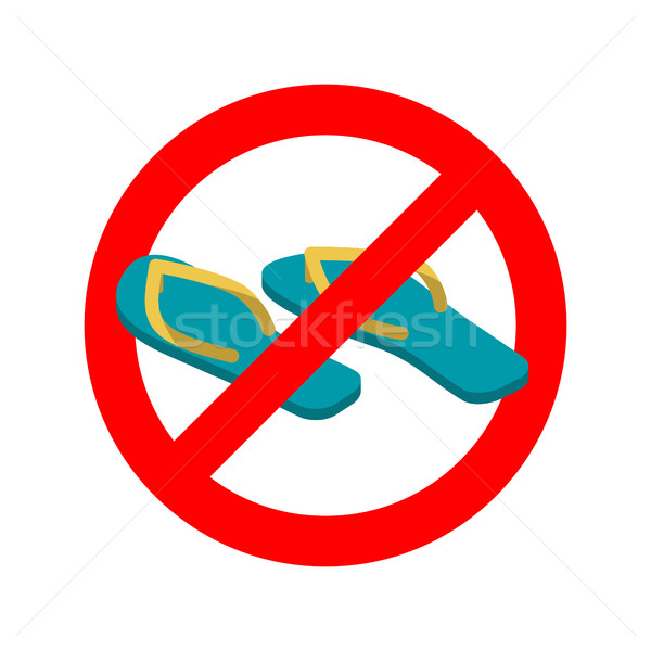 Stop slippers. Ban summer shoes. Red traffic sign not allowed Stock photo © popaukropa