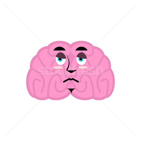 brain sad emotion. Human brains Emoji  sorrowful. Isolated Mind Stock photo © popaukropa