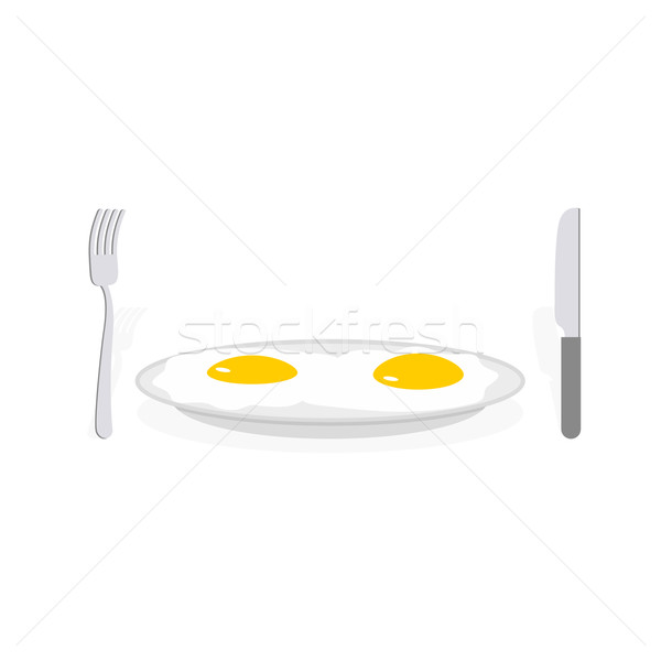 Scrambled eggs. Two fried eggs on plate. Cutlery, fork and knife Stock photo © popaukropa