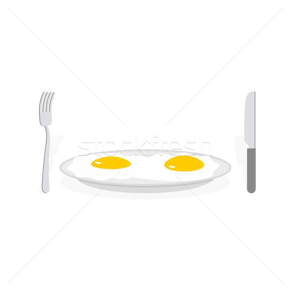 два жареный яйца пластина приборы Сток-фото © popaukropa