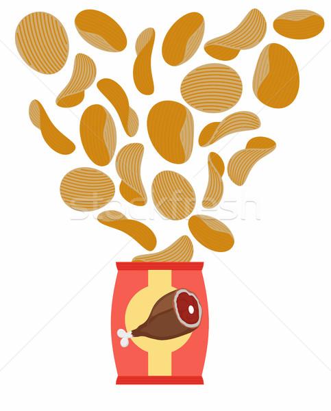 картофельные чипсы вкус копченый ветчиной мяса кость Сток-фото © popaukropa