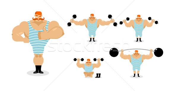 Retro athlete set poses. Ancient bodybuilder with red mustache e Stock photo © popaukropa