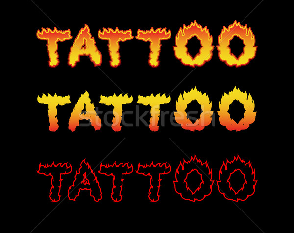Tattoo fire letters. Flame lettering. Comics font Stock photo © popaukropa