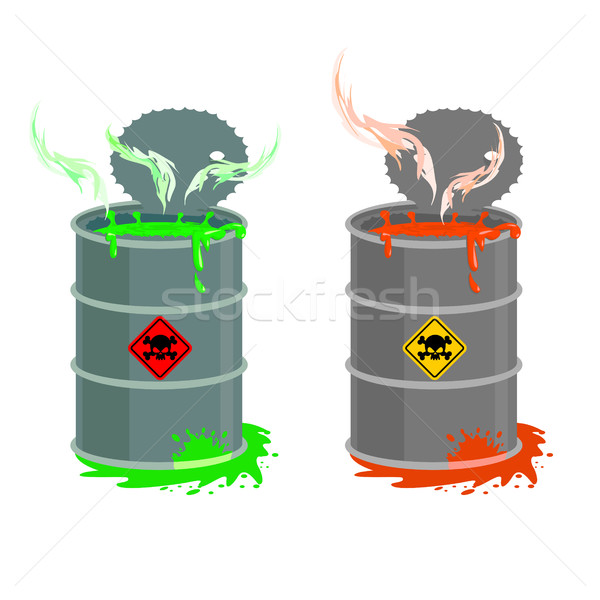 Barrel of toxic waste. Biohazard open container. Grey with red b Stock photo © popaukropa