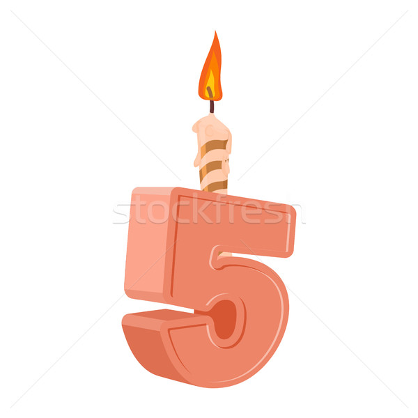 5 years birthday. Number with festive candle for holiday cake. f Stock photo © popaukropa