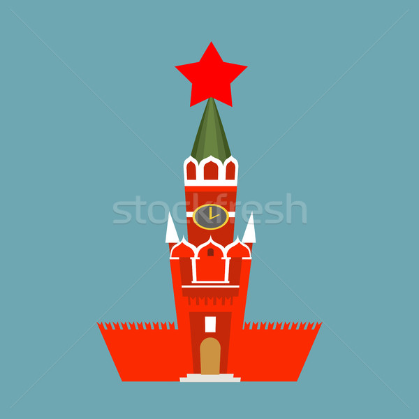 Moscow Kremlin cartoon style isolated. Spasskaya Tower on Red Sq Stock photo © popaukropa