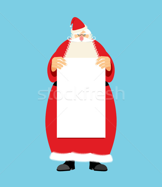 Santa Claus and blank sheet template isolated. Granddad in red s Stock photo © popaukropa