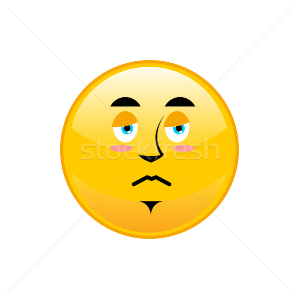Sad Emoji isolated. dull yellow circle emotion isolated Stock photo © popaukropa