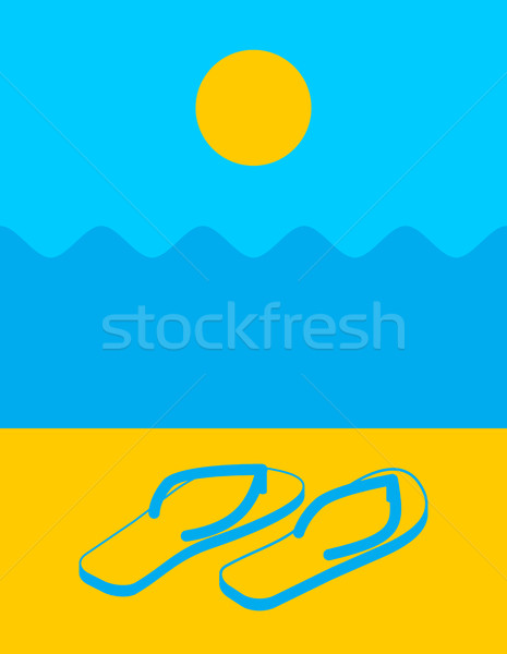 Summer landscape abstract. Beach and slippers. Sun and waves Stock photo © popaukropa