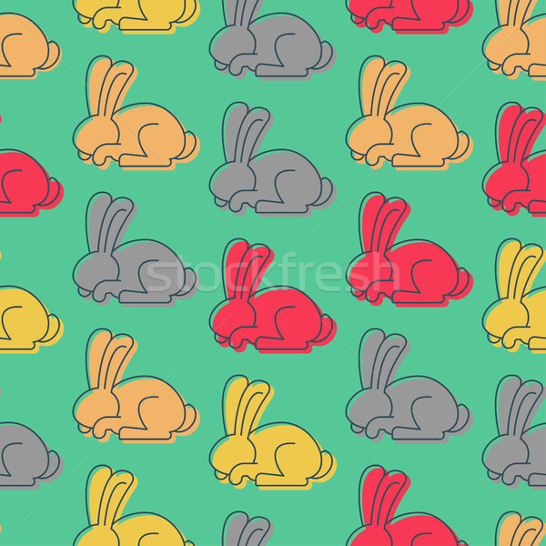 Colored Rabbit seamless pattern. Hare ornament. bunny background Stock photo © popaukropa