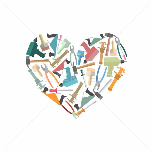 Stock fotó: Szimbólum · szív · építkezés · szerszámok · logo · ácsmesterség
