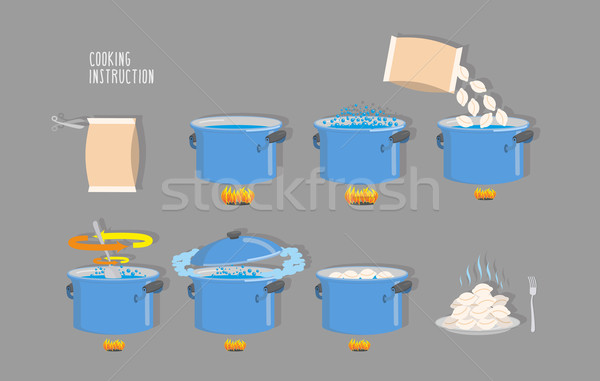 Cooking instructions. Infographics of cooking dumplings. Vector  Stock photo © popaukropa