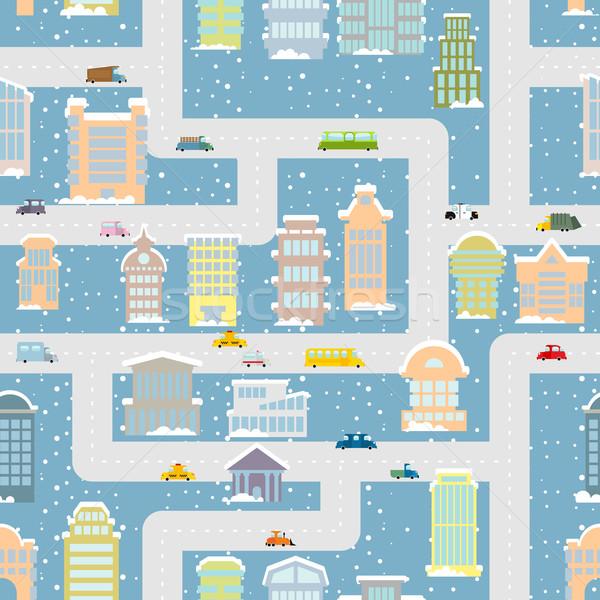 Tél város végtelen minta világváros irodaépületek szállítás Stock fotó © popaukropa