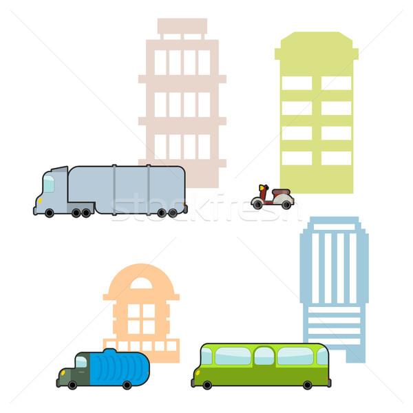 Set municipal transport public clădirilor autobuz Imagine de stoc © popaukropa