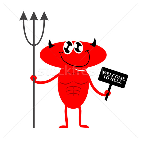 Welcome to hell. Cute Red Devil holding a sign and Trident. Devi Stock photo © popaukropa