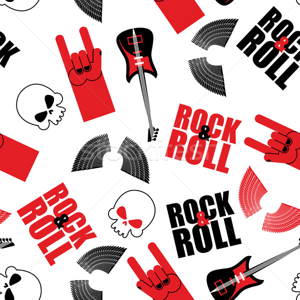 rock music seamless pattern.  Guitar and skull. Wings and rock  Stock photo © popaukropa