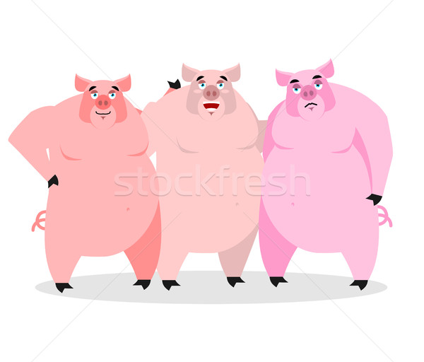 3 pigs. Three piglets. Funny farm animals. Good character from f Stock photo © popaukropa