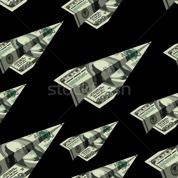 Aeronave dólares dinheiro avião de papel Foto stock © popaukropa